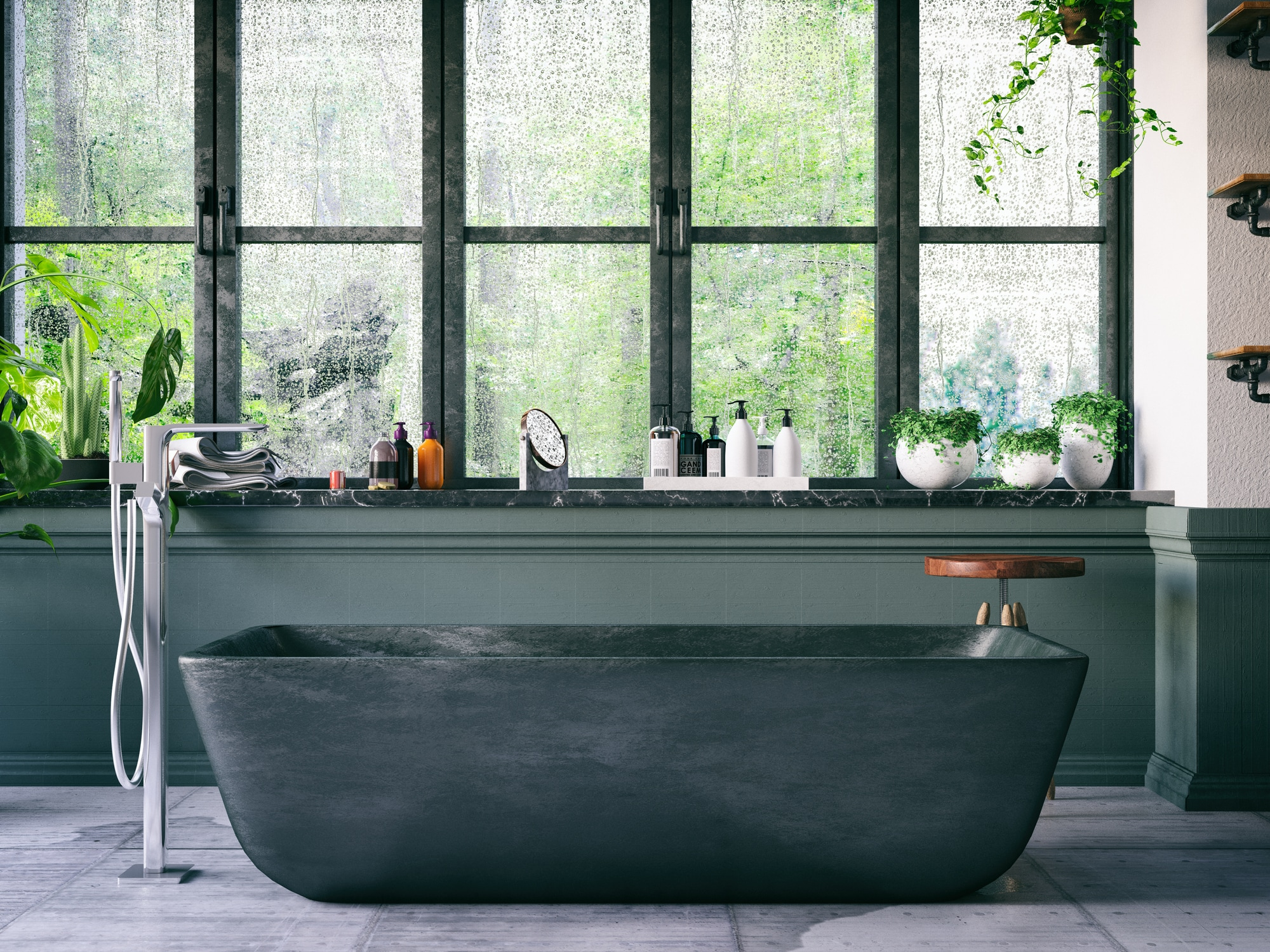 Bathroom Filled with Plants
