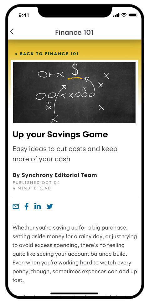 Smartphone with MySynchrony App showing finance tips.
